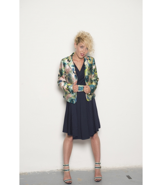 Veste Simone navy flower - Collection Wall Street