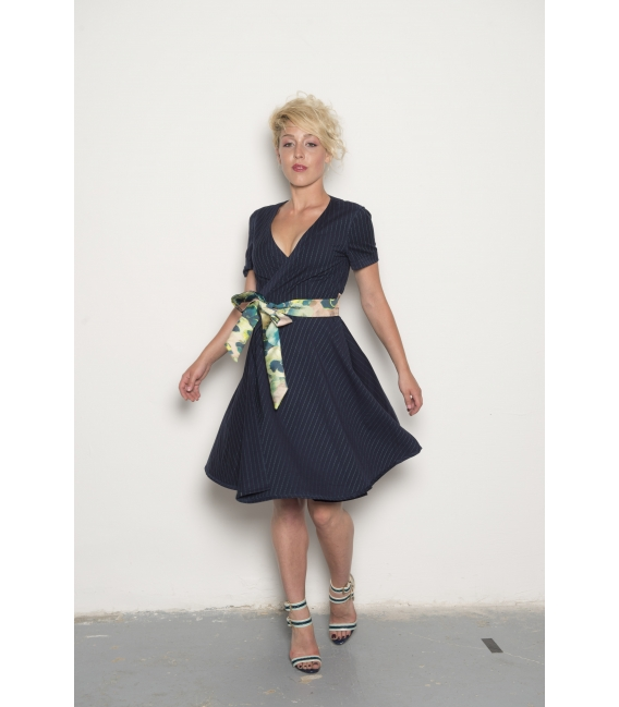 Robe Victoria navy flower - Collection Wall Street