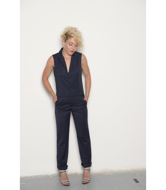 Combipantalon Betty navy flower - Collection Wall Street