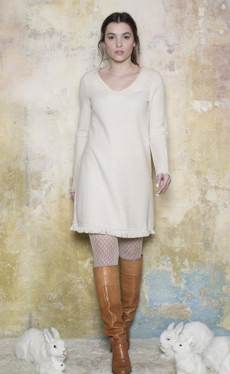 Robe laine ecru femme