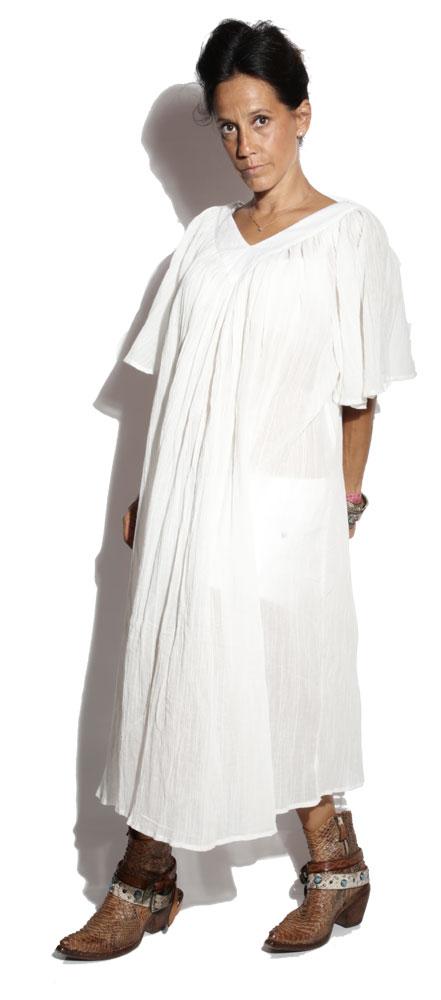 Robe mi longue blanche femme