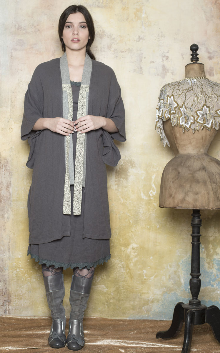 Kimono Céleste Grey - Collection Bohemian Vintage
