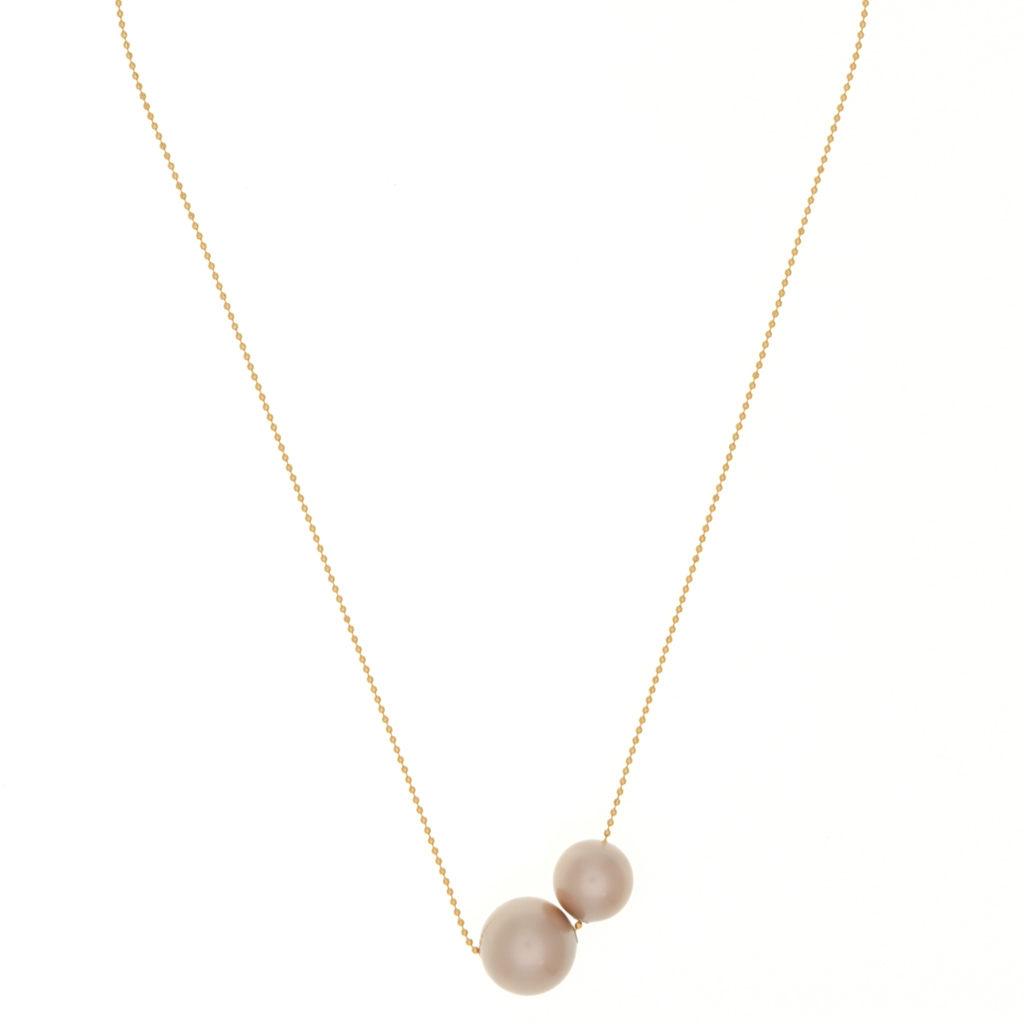 collier perle rose poudre