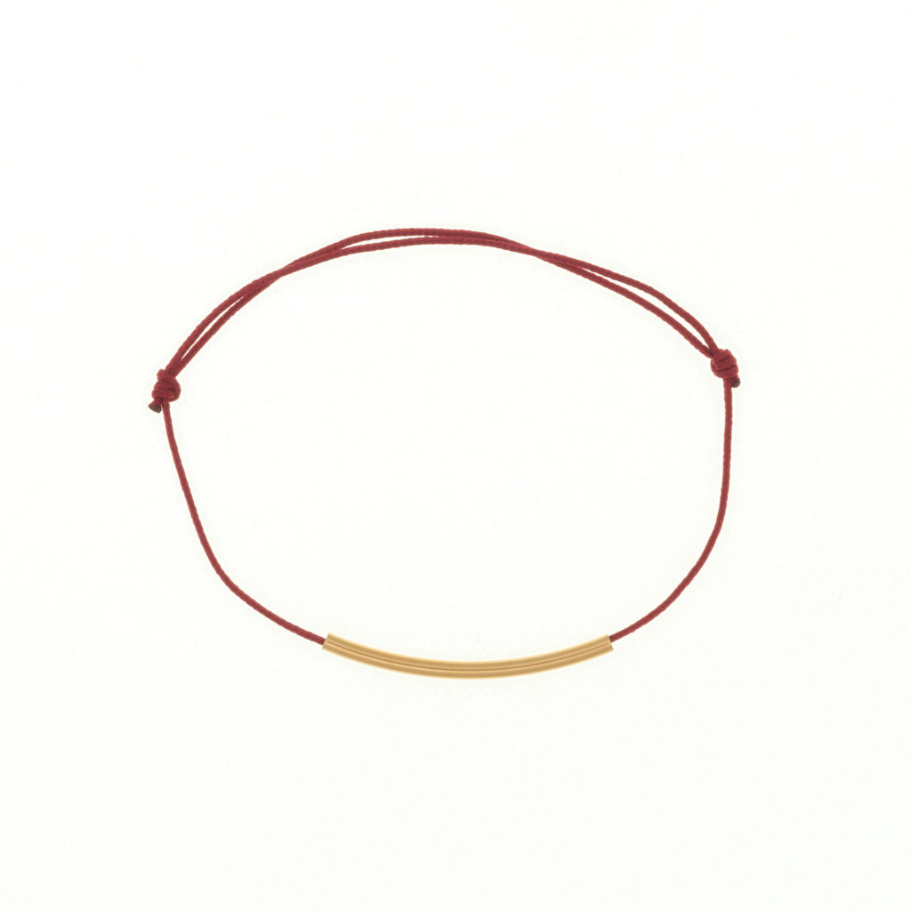 Bracelet tube plaqué or - Cordon rouge