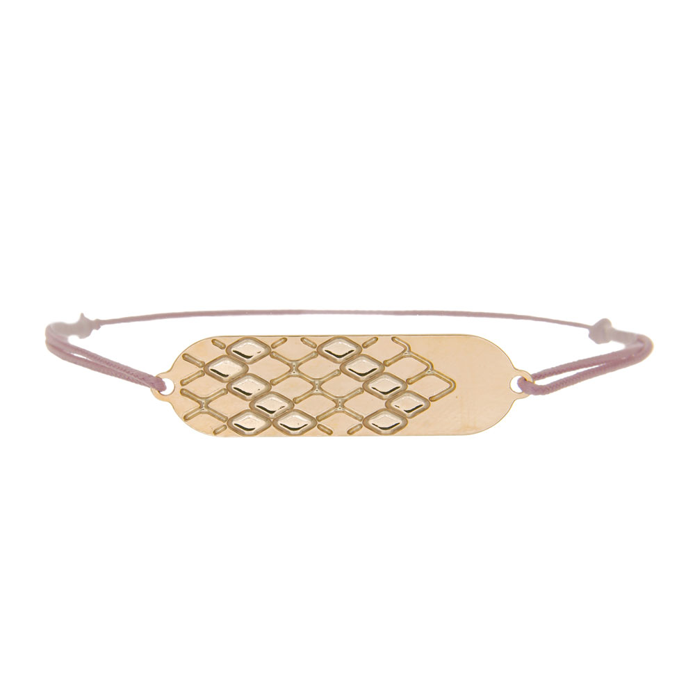 bracelet cordon signature plaqué or rose cordon rose