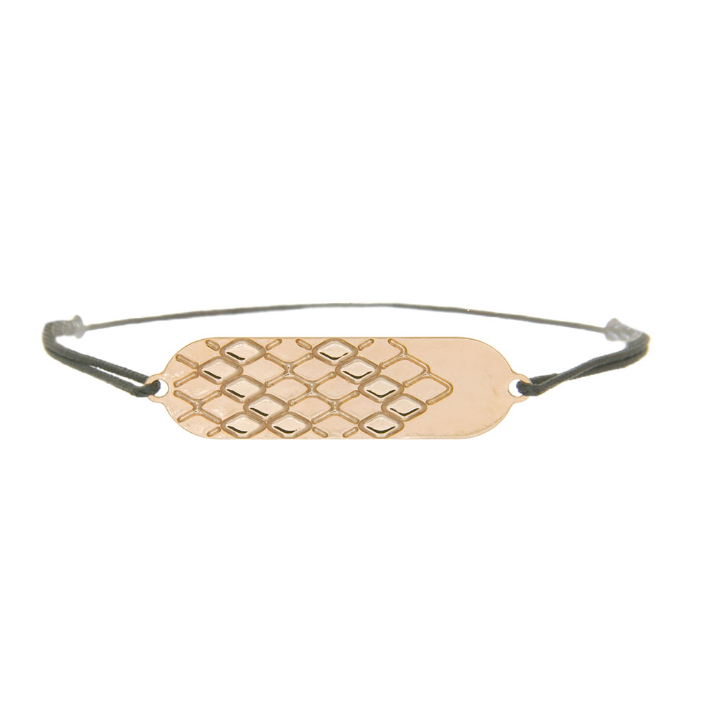 bracelet cordon signature plaqué or rose cordon gris