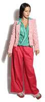 Veste Simone Vert d'O Pied de poule ( red) - Power Girl