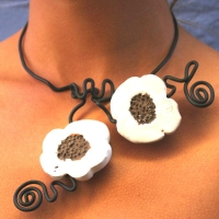 Collier double blanc