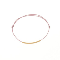 Bracelet tube plaqué or - Cordon rose poudré